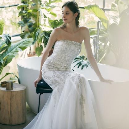 Flora金銀絲繡魚尾婚紗