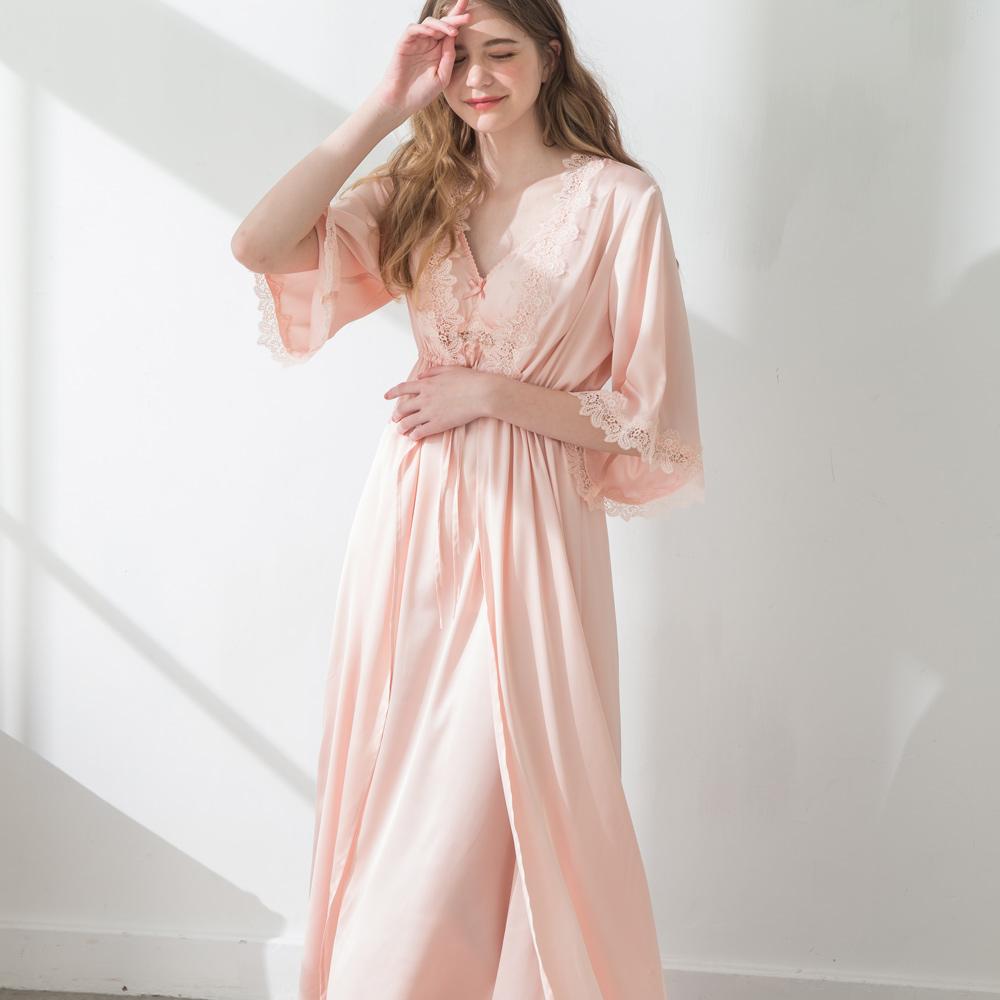 Rachel芮秋.薇茲 絲緞色丁唯美睡袍/洋裝2件組