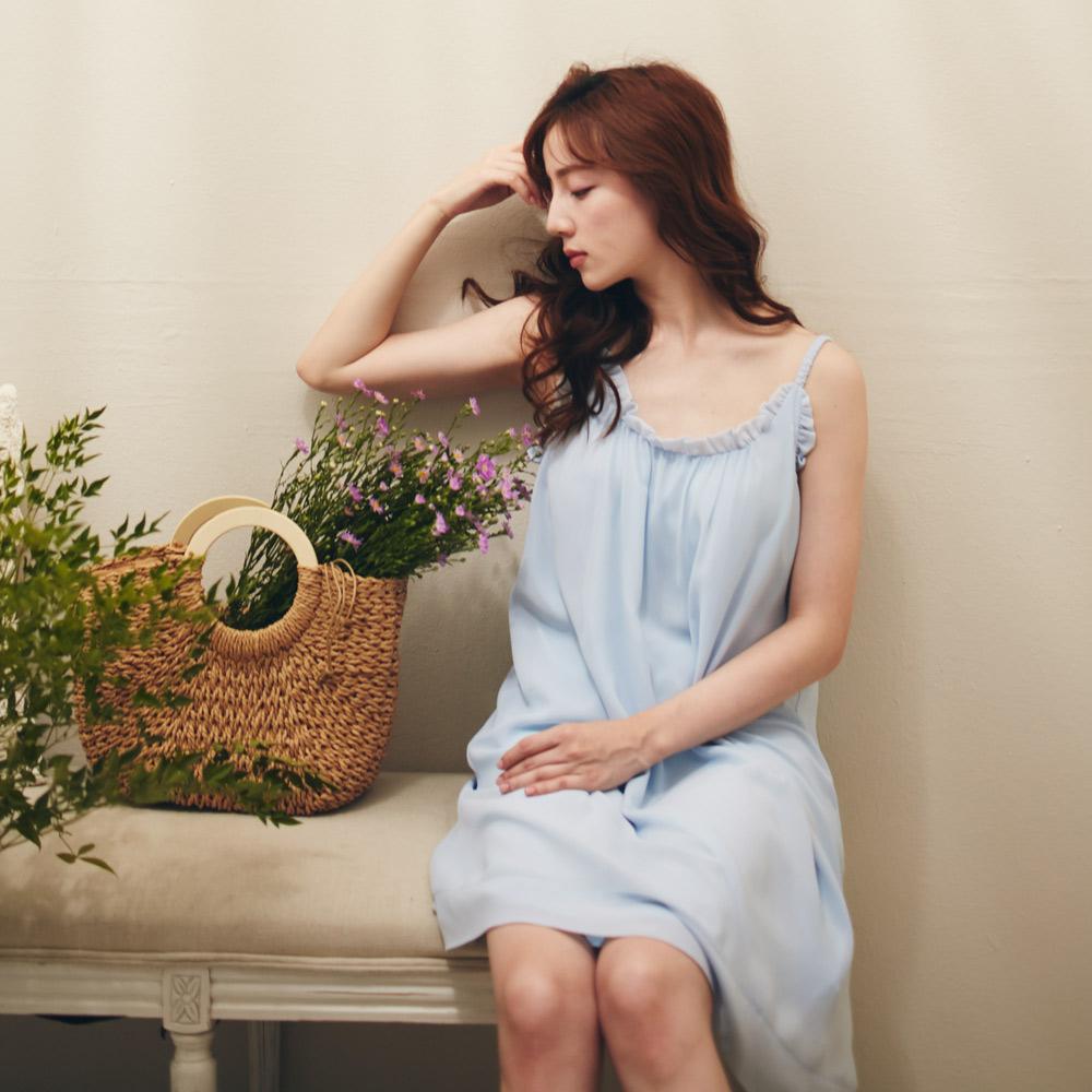 Erin愛林雪紡居家外出洋裝內建無鋼圈罩杯-藍
