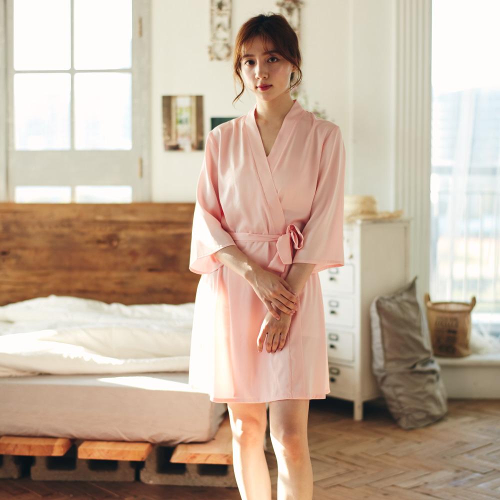 Honey親愛的冰絲緞晨袍-粉
