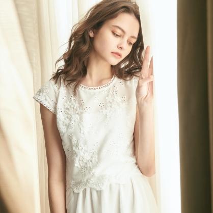 Agnes愛格妮絲典雅立體刺繡貼花上衣 +白長紗裙 (二件式)