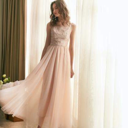 Grace葛瑞絲 粉珠繡上衣 +粉長紗裙 (二件式)禮服,輕婚紗