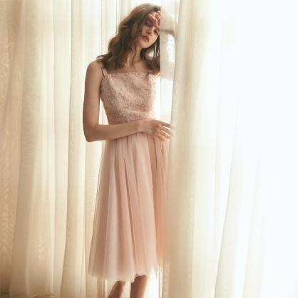 Grace葛瑞絲 粉珠繡上衣 +粉短紗裙 (二件式)禮服,輕婚紗