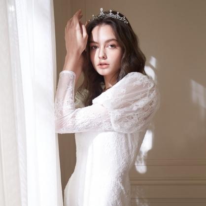 Isabel依沙貝爾 法式宮廷蕾絲泡袖長洋裝