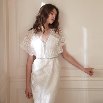 Jolie喬莉 蝴蝶袖全繡花長洋裝 禮服,輕婚紗,自助婚紗,浪漫洋裝