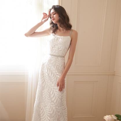 Lena莉娜 優雅律動繡花長洋裝 禮服,輕婚紗,自助婚紗,浪漫洋裝
