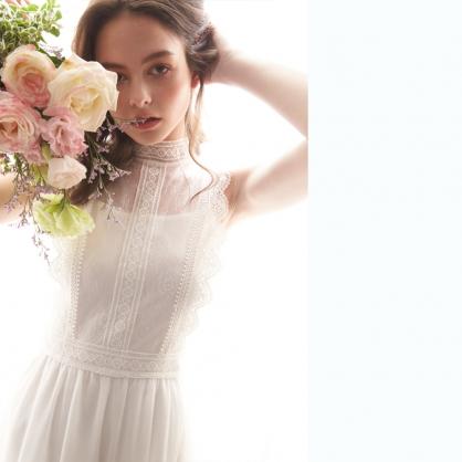 Lillian莉莉安 法式浪漫睫毛蕾絲長洋裝 禮服,輕婚紗,自助婚紗,浪漫洋裝