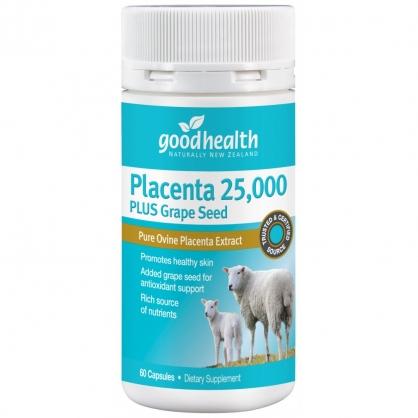 紐西蘭 Goodhealth Placenta 25,000 Plus Grape Seed 60s 好健康 羊胎盤素+葡萄籽膠囊 60粒