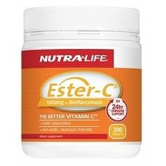 紐西蘭 Nutralife Ester-C 1000mg+Bioflavonoids 200s 紐樂 活性酯化維他命C+類黃酮 200粒