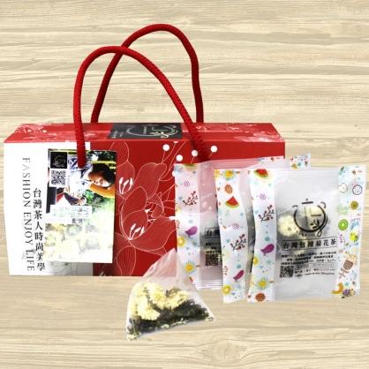 [元豐昌電舖]台灣菊花包種茶三角立體茶包提盒(15入/盒)