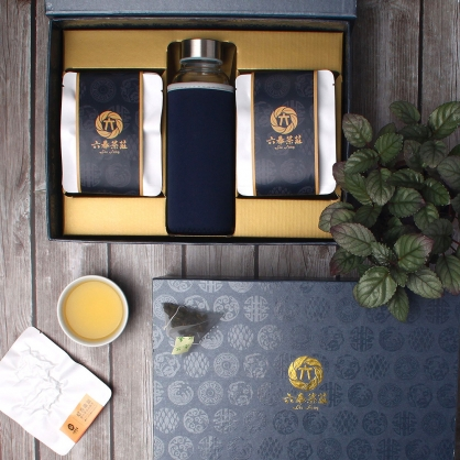 【頂級】三角立體原片茶包-鹿谷凍頂烏龍茶-禮盒12包-附隨身瓶
