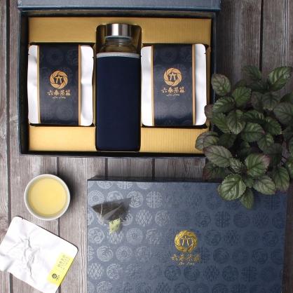 【頂級】三角立體原片茶包-阿里山金萱茶-禮盒12包-附隨身瓶
