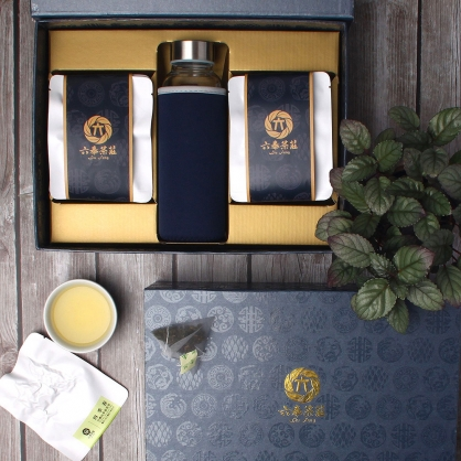 【頂級】三角立體原片茶包-台灣四季春青茶-禮盒12包-附隨身瓶