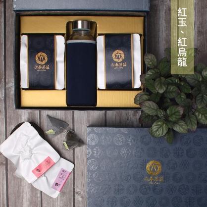 【頂級】三角立體原片茶包-日月潭紅玉紅茶&台東鹿野紅烏龍-禮盒12包-附隨身瓶