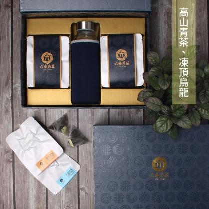 【頂級】三角立體原片茶包-鹿谷凍頂烏龍茶&台灣高山烏龍茶-禮盒12包-附隨身瓶