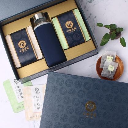 【精裝】嚴選桂花烏龍&茉香綠茶包-禮盒12包-附隨身瓶