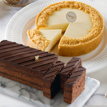 巧克力黑金磚18cm+無限乳酪6吋