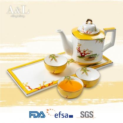 英國品牌A&L骨瓷精品 - 珊瑚 骨瓷茶具組 骨炭粉含量40% 以上製作 高透光