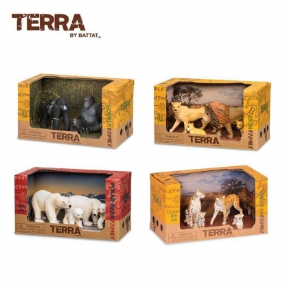 TERRA 獵豹家族 北極熊家族 獅子家族 大猩猩家族 動物模型 扮家家酒玩具玩偶
