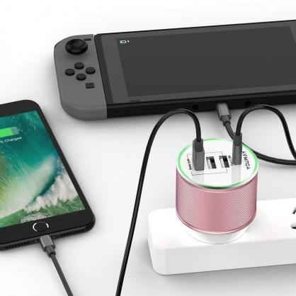 Youway |PD+USB四孔萬國充 旅行充電器 玫瑰金