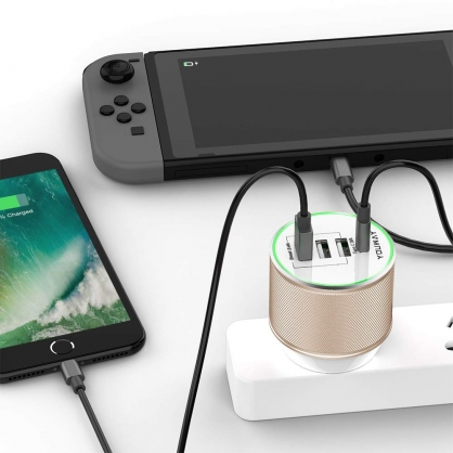 Youway |PD+USB四孔萬國充 旅行充電器 金色