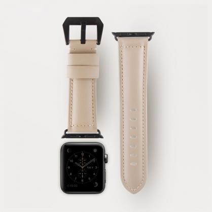 UNIQ|Kronos Duffle Apple watch 質感真皮手作縫線錶帶 42 mm 米色