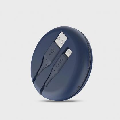 UNIQ|Halo MFI認證快充編織傳輸線 iPhone USB-A to Lightning 1.2M (附收納盒) 藍色