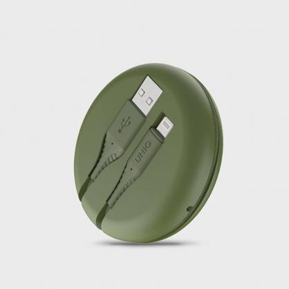 UNIQ|Halo MFI認證快充編織傳輸線 iPhone USB-A to Lightning 1.2M (附收納盒) 綠色