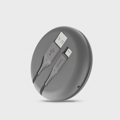 UNIQ|Halo MFI認證快充編織傳輸線 iPhone USB-A to Lightning 1.2M (附收納盒) 灰色