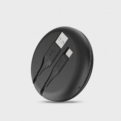 UNIQ |Halo USB Type-C 高密度尼龍編織快充傳輸線 USB-A to USB-C 1.2M (附收納盒) 黑色