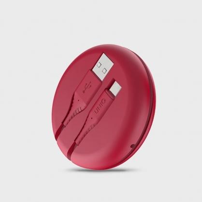 UNIQ |Halo USB Type-C 高密度尼龍編織快充傳輸線 USB-A to USB-C 1.2M (附收納盒) 紅色