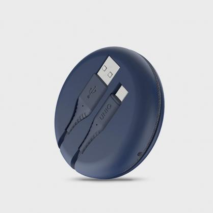 UNIQ |Halo USB Type-C 高密度尼龍編織快充傳輸線 USB-A to USB-C 1.2M (附收納盒) 藍色