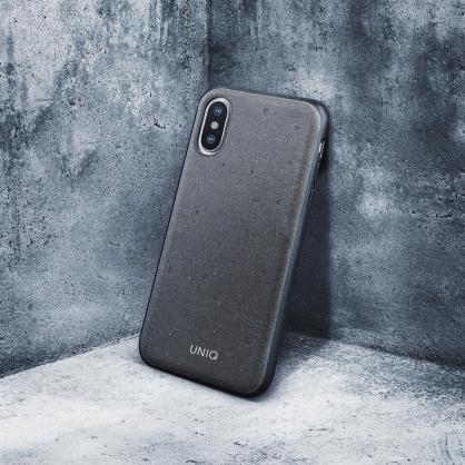 UNIQ|Element 工業風手工貝殼混水泥手機殼 黯灰 iPhone X/XS/XSMax