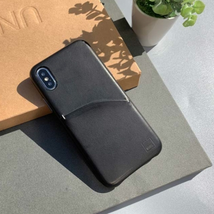 UNIQ|Duffle 真皮插卡手機保護殼 黑色 iPhone XR/X/XS/XSMax