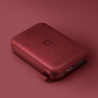 UNIQ|HydeAir 10000mAh 無線快充帶支架螢幕行動電源 紅色