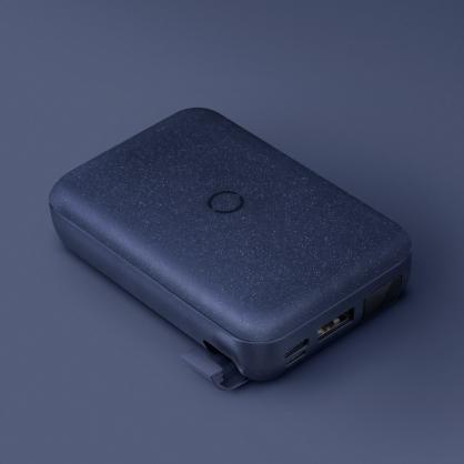 UNIQ|HydeAir 10000mAh 無線快充帶支架螢幕行動電源 藍色