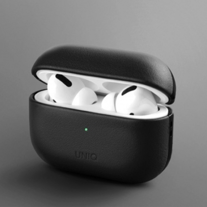 UNIQ|Terra AirPods Pro 手工真皮收納保護套 配掛勾 黑色