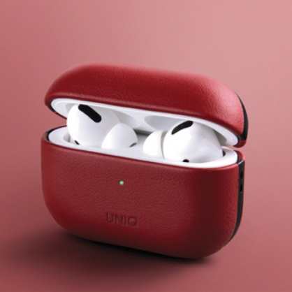 UNIQ|Terra AirPods Pro 手工真皮收納保護套 配掛勾 紅色