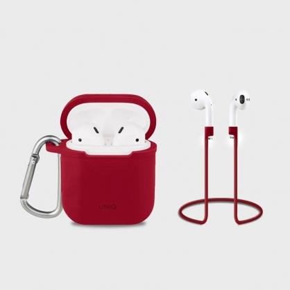 UNIQ | Vencer AirPods 第1代 全包藍牙耳機矽膠保護套 配掛鉤防丟線 紅色