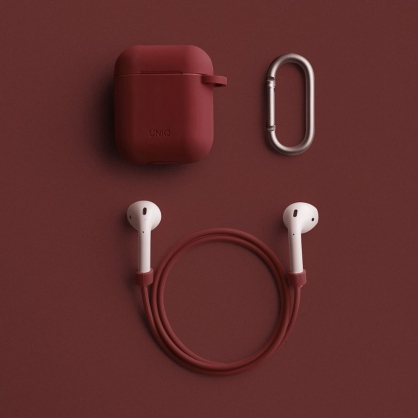 UNIQ | Vencer AirPods 1/2代 全包藍牙耳機矽膠保護套 配掛鉤防丟線、耳機套 紅色