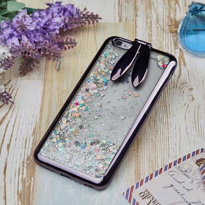 兔耳朵支架流沙手機保護殼 黑色 iPhone 6/6s/7/Plus