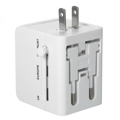 多用全國旅行萬國插電轉接器 出國旅遊必備 贈收納包 白色