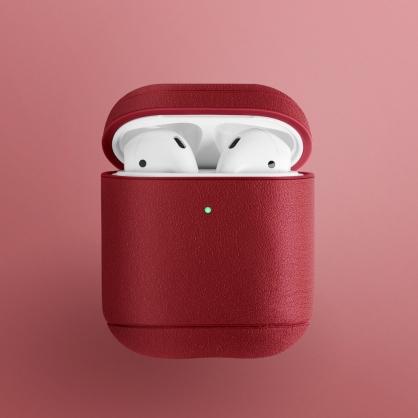 UNIQ|Terra AirPods 1/2代 手工真皮收納保護套 配耳機套 紅色