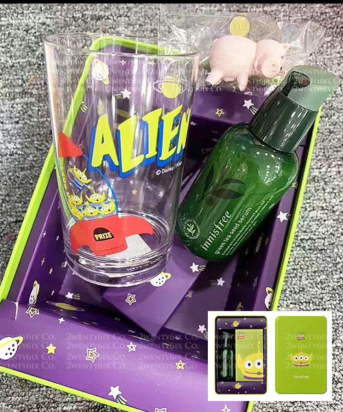★韓國 Innisfree x Disney Toy Story《限量聯名》★小綠茶精華套組 (綠茶籽精華+玻璃杯+杯緣子+鐵盒)