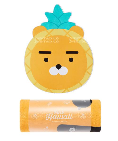 ★韓國Kakao Friends★ 超萌可愛夏威夷鳳梨Ryan萊恩沙灘巾 (大尺寸)