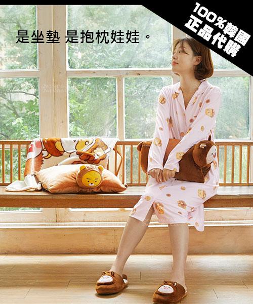 ★韓國Kakao Friends★ 秋冬新款 超萌溫暖松鼠坐墊/抱枕娃娃 (萊恩/屁桃)