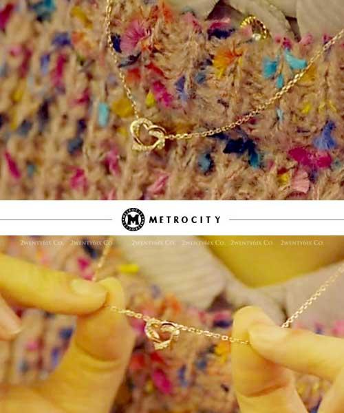 ★韓國Metrocity★Drawing Love<都奉順同款正品雙心吊墜項鍊>14K/925純銀