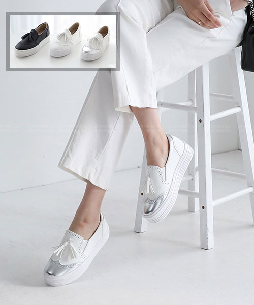 ★正韓★Oxford Tassel時尚率性垂墜流蘇鬆糕厚底牛津懶人鞋 (三色)