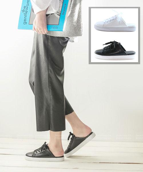 ★韓系★Benjamin SS 個性簡約質感皮革繫帶厚底半拖鞋 (兩色)