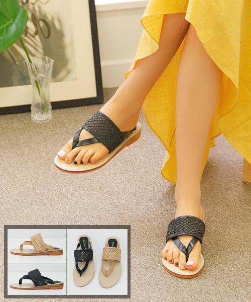 ★韓系★Noah Knit 時尚率性編織皮革平底夾腳涼拖鞋 (兩色)
